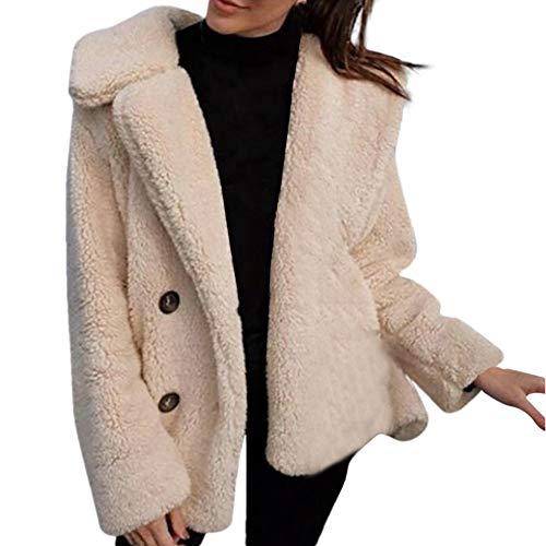 SALUCIA Damen Teddyjacke Warme Revers Cardigan Plüschjacke Flauschige Winter Jacke Mantel Winterjacke Übergangsjacke Outwear