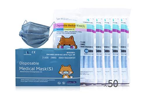 YINHONYUHE Mascarilla Quirúrgica Desechable Homologada Para Niños, 50 Unidades, Blue, CE, BFE ≥98%, EN 14683:2019+AC:2019...