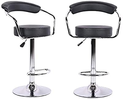 High Back Rest 360 Swivel Bar Stool with Chrome Base PU Leather Height Adjustable Hydraulic Bar Stool Pub Chair Kitchen Island Set of 2 Axion Modern White Stool