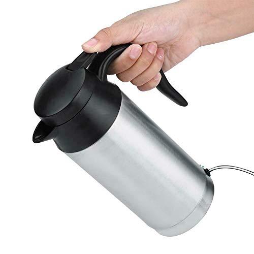 Ejoyous 750 ml Auto Elektrische Wasserkocher, 12V/24V Zigarettenanzünder Reise Tragbarer Auto Kessel Mit versiegeltem Gummiband und LED-Temperaturanzeige für Wasser Kaffee Getränke Heizung