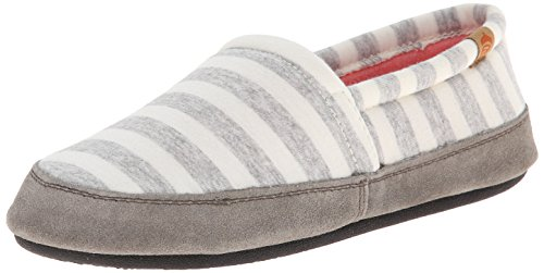 Acorn Women's Moc Slipper, White Stripe, Large/8-9 M US