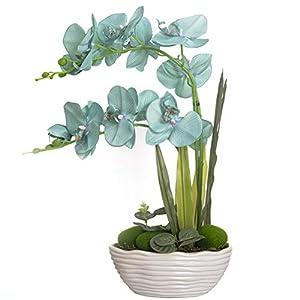 YSZL Large Artificial Potted Orchid Plant, Silk Flower Arrangement with Ceramics Vase, Golden Blue