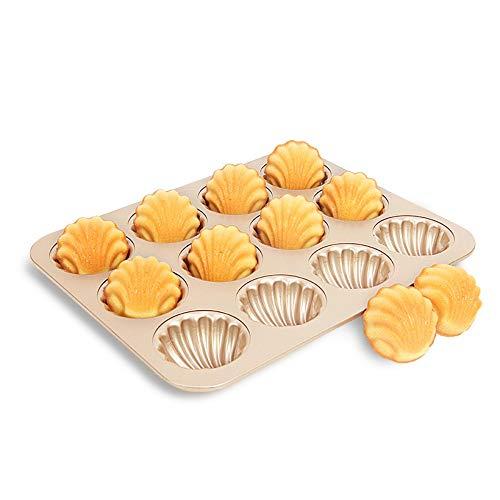 MoldYAN Backform Gold 12 Tassen Antihaftbeschichteter Japanischer Madeleine-Muschel-Bananenkuchen