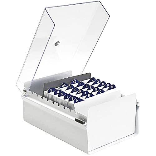 Acrimet Fichero Tarjetero Organizador de Escritorio con Divisor y Indice A-Z incluso (Base de Metal Resistente Color Blanco y Tapa de Plástico Transparente) (Índice A-Z 155mm de ancho x 115mm de alto)