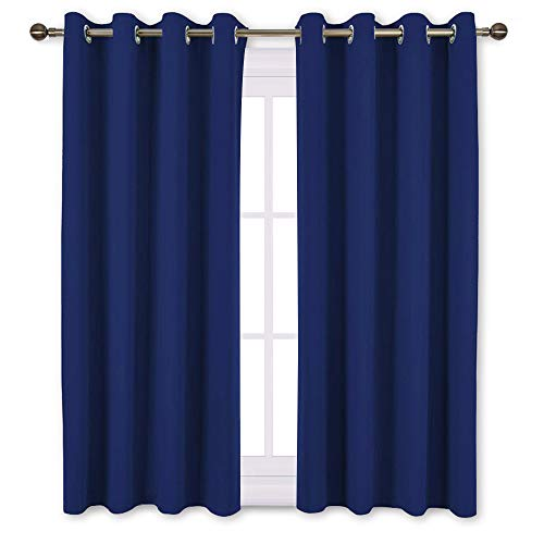 NICETOWN Blackout Window Curtains and Drapes - Thermal Insulated Solid Grommet Top Blackout Panels/Draperies for Kid's Room (Royal Navy Blue, 1 Pair, 52 x 63 Inch)