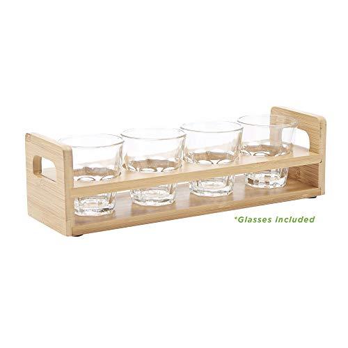 Mind Reader SHALOM-BRN 4 Rectangle Slot, Shot Holder Display with Glasses, Kitchenware, Barware, Wood Stand, Brown, One Size