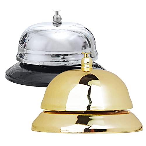 2 Piezas Juego De Campana De Recepción Campana De Mesa Campana De Recepción Campana De Mesa De Decoración De Bar Para Oficina Aula Recepción Restaurante Hotel y Servicio De Bar (Oro Plateado)