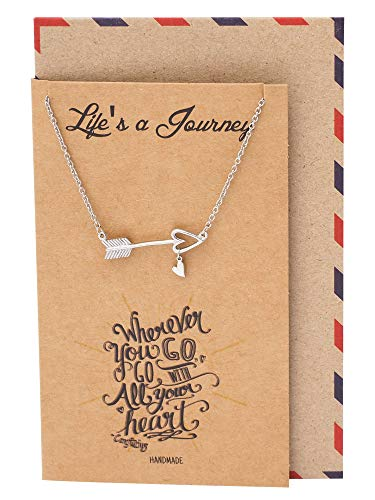 Quan Jewelry Arrow Necklace with Heart Charm, Positive Reminder Sideways Arrow Pendant, Graduation Gifts, Dream Necklace with Inspirational Quote