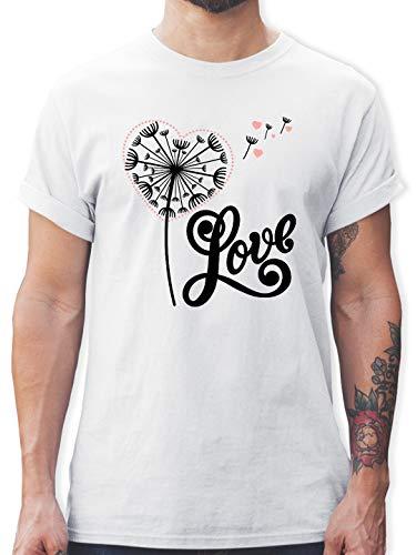 Blumen & Pflanzen - Pusteblume - Love - schwarz - 3XL - Weiß - T-Shirt - L190 - Tshirt Herren und Männer T-Shirts