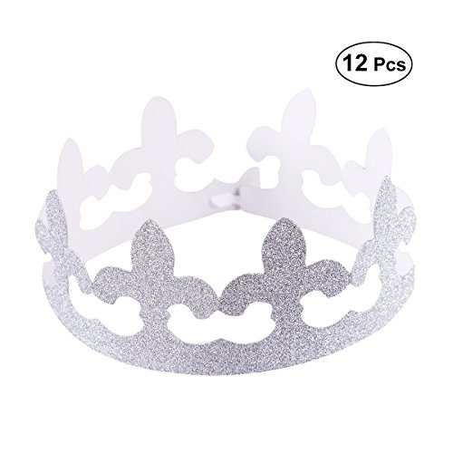 BESTOYARD Crown Party Hüte Geburtstag Papier Kappe Party Crown Einstellbare Party Cap Dekoration mit Band, Packung mit 12 (Silber)