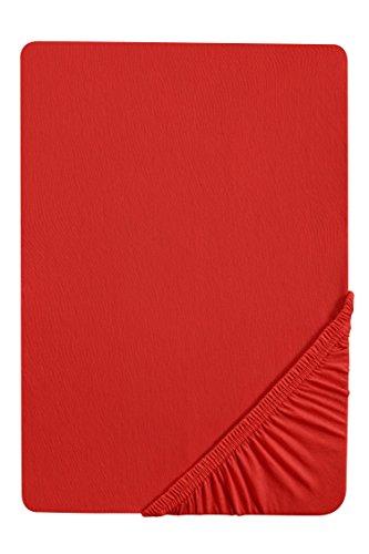 biberna 0077144 Feinjersey Spannbetttuch (Matratzenhöhe max. 22 cm) (Baumwolle) 90x190 cm -> 100x200 cm, rot