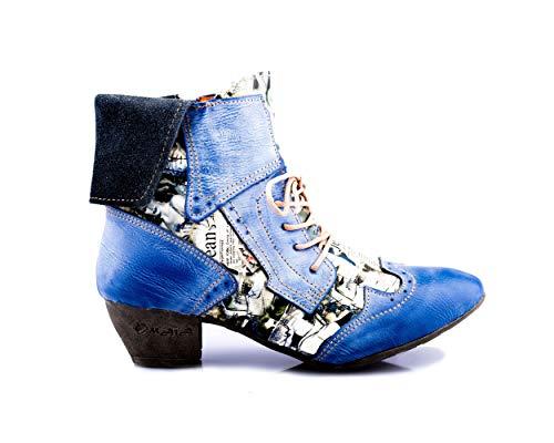 TMA 6188 Modische Damen Stiefelette Stiefel Schuhe Leder blau alle Gr. 36-42 EUR 40