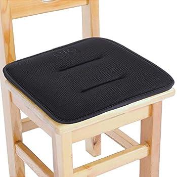 Big Hippo Kids Chair Pads with Ties Sandwich Mesh Fabric Chair Cushion Nonslip Square Seat Cushion Memory Foam Cushion for Kids Chair /School Chair/Wood Chairs,12 x12  Black 1 Pack