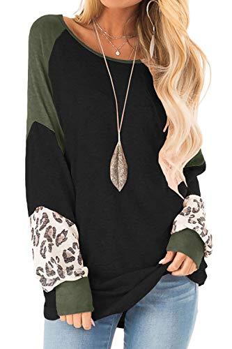 Yanekop Womens Color Block Pullover Leopard Print Sweatshirt Raglan Long Sleeve Loose Tunic Shirts Tops(Black,S)