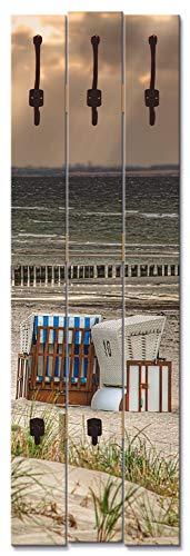 Artland Wandgarderobe Holz Design mit 5 Haken Garderobe mit Motiv 45x140 cm Natur Landschaft Dünen Strand Meer Strandkorb Insel Ostsee T9ER