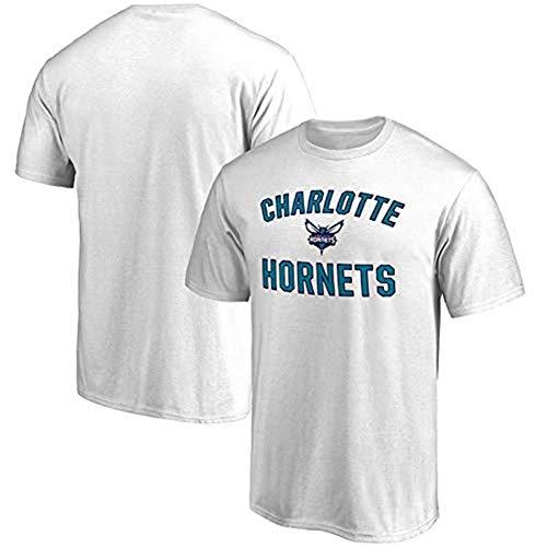 Li Longue Charlotte Hornets Costume d'entraînement d'équipe T-Shirt de Sport Ventilateurs Chemise commémorative Hommes et Femmes T-Shirt en Couple (Color : White, Size : XXXL)