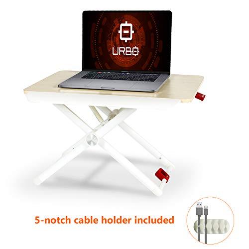 Urbo ergonomischer Schreibtischaufsatz Höhenverstellbar, Sitz Steh Tisch mit verstellbaren Beinen & Handablage für eine gesunde Körperhaltung zwischen Sitzen und Stehen im Büro & Zuhause