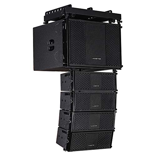 Sound Town ZETHUS Series Line Array Speaker System with One 15-inch Powered Line Array Subwoofer, Four Compact 2 X 5-inch Line Array Speakers, Black