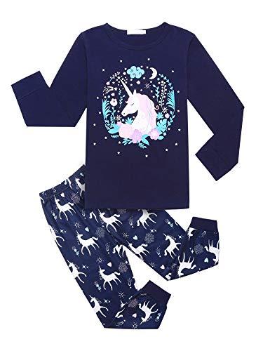 Bricnat Mädchen Schlafanzug Einhorn Drucken Nachtwäsche Kinder Bekleidung Zweiteiliger Schlafanzüge Langarm Winter Blau 110