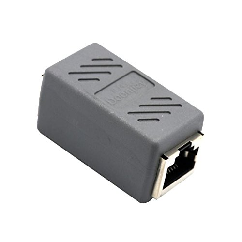 perfk RJ45-uttag till uttag nätverkskabel CAT6 koppling patchkabel anslutning Ethernetkabeladapter, 4,3 cm x 2 cm x 2 cm – grå
