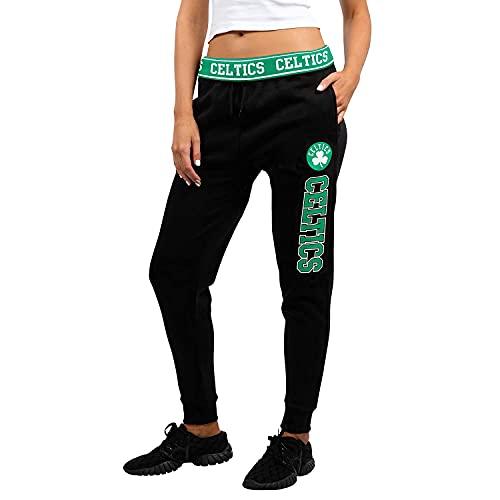 Ultra Game NBA Boston Celtics Womens Jogger Pants Active Basic Fleece Sweatpants , Black, Small