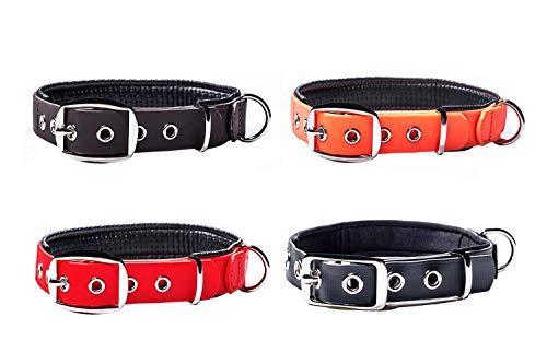 PetTec Hundehalsband aus Trioflex™ mit Polsterung, Braun, Wetterfest, Wasserabweisend, Robust