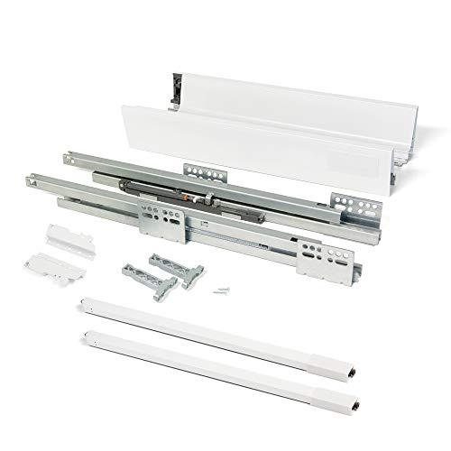 Emuca Kit de tiroir Vantage0Q Hauteur 141 mm et Profondeur 350 mm avec tringles Finition Blanc