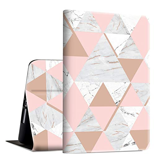 iPad 9.7 2018/2017 Case,iPad Air 2/iPad Air Case, Rossy PU Leather Folio Smart Cover Shock Case with Adjustable Stand & Auto Wake/Sleep Feature for Apple iPad 6th/5th Gen,Pink and Gold Marble