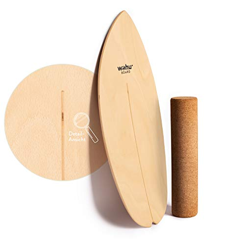WAHU- Balanceboard (Natur) - Trickboard mit einzigartigem Rocker Shape inkl. Rolle - Balance Trainer (100% Holz) | Indoor Balance...