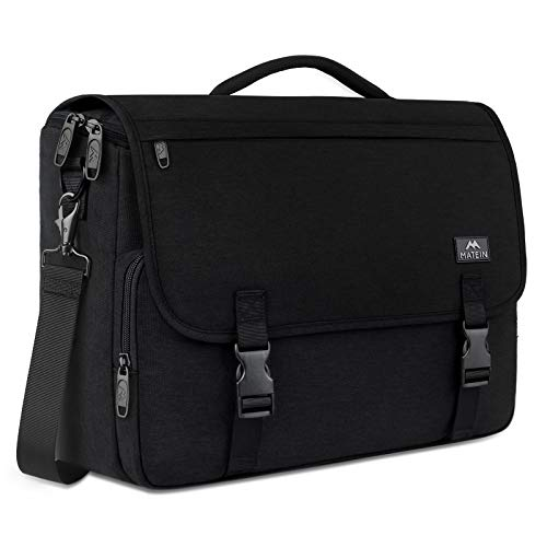 🎁Large Capacity: This roomy Men's Messenger Bag has plenty of room to storage everything. 1 main compartment for your books, clothes, lunch box, documents and other items. 1 padded laptop compartment offers protection for 15.6 inch laptop from accide...