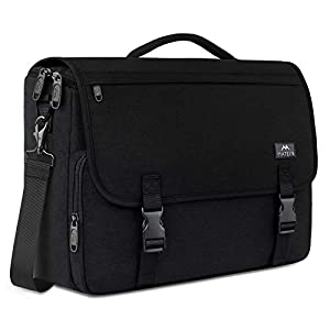 Messenger Bag for Men, Women Briefcases Lightweight Men's Laptop Bag 15.6 inch Water Resistant Crossbody School Satchel Bags for Boys Computer Work Office Bag with Shoulder Strap, Black