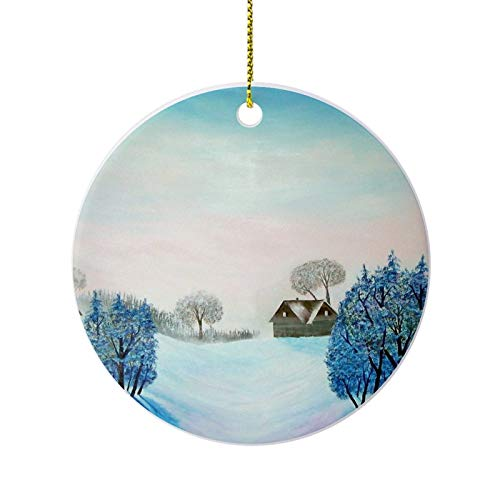 Christmas Ornaments, Swiss Opus Blue Christmas Round Ornament, Ceramic Keepsake Decoration Ornament