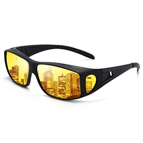 Night Vision Glasses for Men Women Anti Glare Polarized HD Night Driving Glasses Wrap Around Fit Over Prescription Eyewear