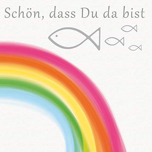 20 Servietten Schön dass du da bist mit Fische und Regenbogen bunt als Tischdeko zur Kommunion, Konfirmation und Taufe 33x33cm