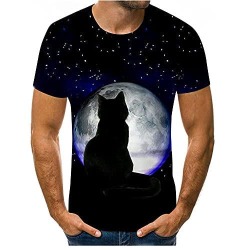 T-Shirt Uomo Chic 3D Stampa Animalier Moda Shirt Uomo Girocollo Manica Corta Regular Fit Top Uomo Creativo Stile Hip Hop T-Shirt Uomo Leggero Confortevole all-Match Shirt Uomo