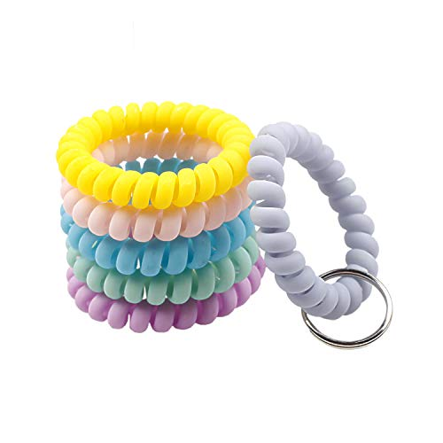 BIHRTC 6 Color Wrist Keychain Plastic Spring Flexible Spiral Wrist Coil Stretchable Wristband Spiral Key Chain Bracelet Key Holder Key Ring for Gym Pool ID Badge Sauna Outdoor Activities