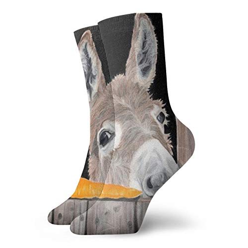 Unisex-Socken für Erwachsene, kurze Socken mit Esel-Motiv, auf dem Fenster liegend, Baumwolle, klassische Socken für Herren und Damen, Laufen, Fitness, Sport