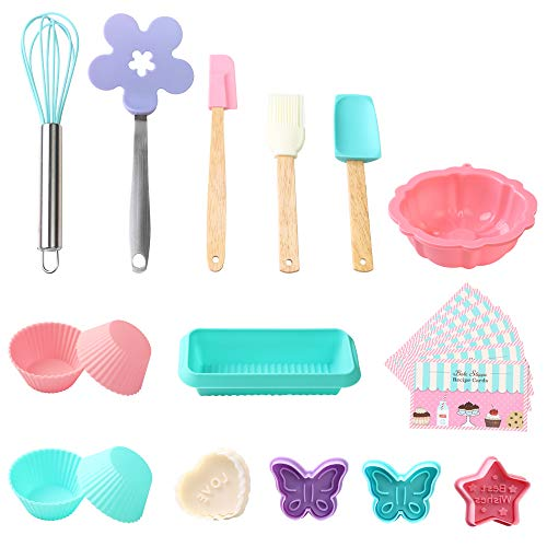 Kids Baking Sets for Girls Real Baking Set with Recipes for Kids 25pcs Baking Supplies with Nonstick Silicone Cookie and Cupcake Molds Spatula Whisk Loaf Pan Recipes
