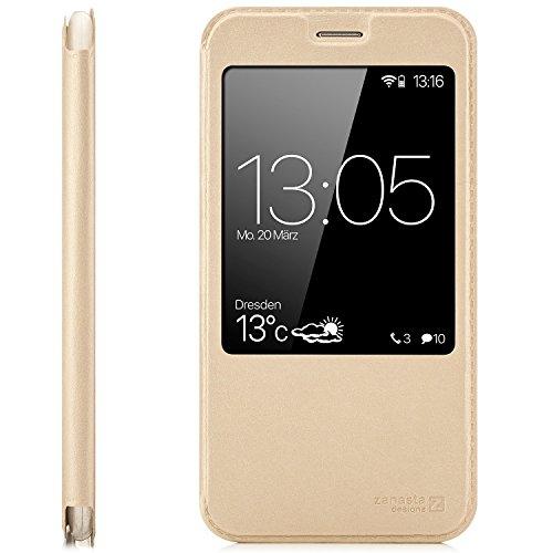 zanasta Tasche kompatibel mit Huawei GX8 (G8) RIO-L01 / RIO-L11 Case Schutzhülle Flip View Cover mit Fenster & Kameraschutz | Gold
