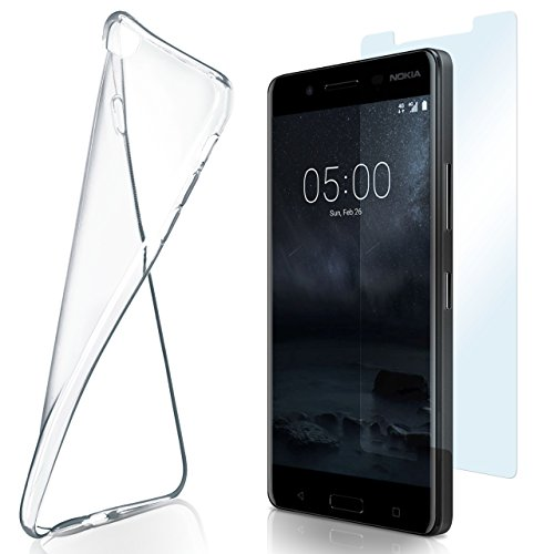 moex Aero Hülle mit Panzerglas für Nokia 5 - Hülle mit Schutzfolie, transparent - Crystal Clear
