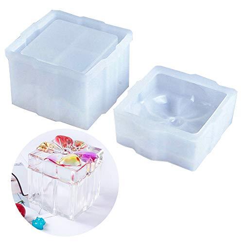 Ziyero Moldes Silicona Caja Mariposa Forma Cuadrada De Silicona Epoxi Mold Reutilizable, para Cajas de Regalo de Navidad, Envases de Dulces, Candelabros, Decoraciones de Bricolaje Etc—Translúcido