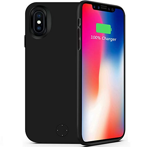 iPhone X/XS Battery Case,80sbrothers Ultra Slim iPhone X/XS Portable Charger,Portable Rechargeable Protective Charging Case for iPhone X/XS,Support Lightning Earphone and Sync-Though(Black)