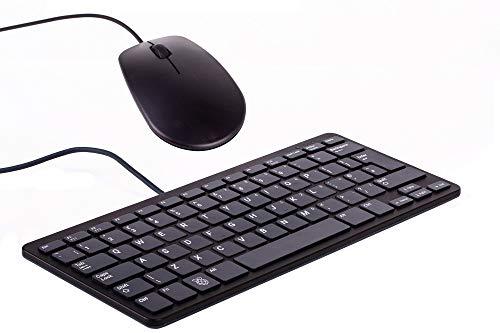 offizielle Raspberry Pi Maus + Tastatur, DE-Layout, inkl. 3 Port USB Hub, schwarz/grau