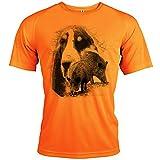 Pets-easy t Shirt - Chasse, diseño de sándalo y gascón, Hombre, neón, large