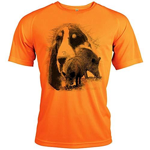 Pets-easy t Shirt - Chasse, diseño de sándalo y gascón, Hombre, neón, 3XL