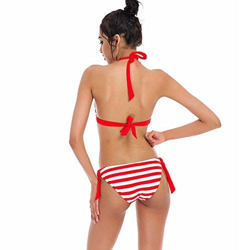 jieGorge Traje de baño para Mujer, Conjunto de Bikini para Mujer Traje de baño a Rayas Traje de baño Ropa de Playa Traje de baño RD/M, Traje de baño para Mujer Control de Barriga (Rojo M)