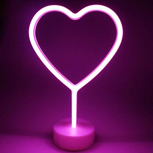XIYUNTE luminosas neón Luz de noche, Rosa Corazon Lámparas luces de neón Lámparas Iluminación infantil Dormitorio Decoración,Bateria powered Luces de noche con pedestal Lámparas escritorio