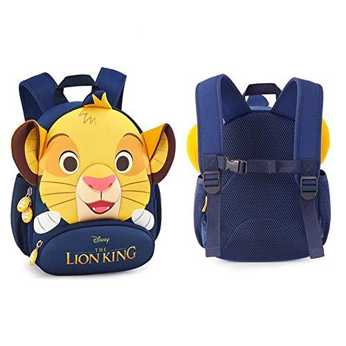 zhangmeiren Schoolbag Figli Maschi di età Compresa tra 3-6 Simulazione Animale Re Leone Modello Zaino del Fumetto Anti-ha Perso Pacchetto di Trazione Bambino (Color : Blue)