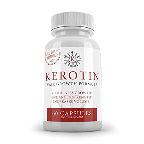 K Kerotin Hair Growth Vitamins For Women & Men - 60 Capsules - Made from Natural Ingredients - Stimulates Growth & Enhances Strength - SUPPLEMENT PARADISE