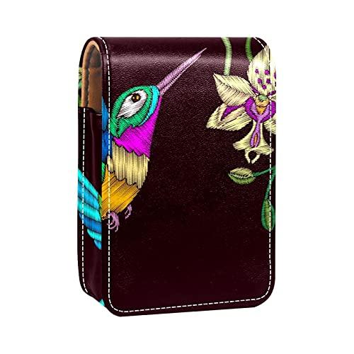 qfkj Étui à Rouge à lèvres Portable avec Un Couvercle,Broderie Oiseau et Fleurs d'orchidée